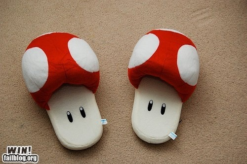 Mushroom slippers: Shoes, Innovation Products, Super Mario Brother, House, Super Mario Bros, Super Mario Bedrooms, Photo, Christmas Ideas, Mushrooms Slippers