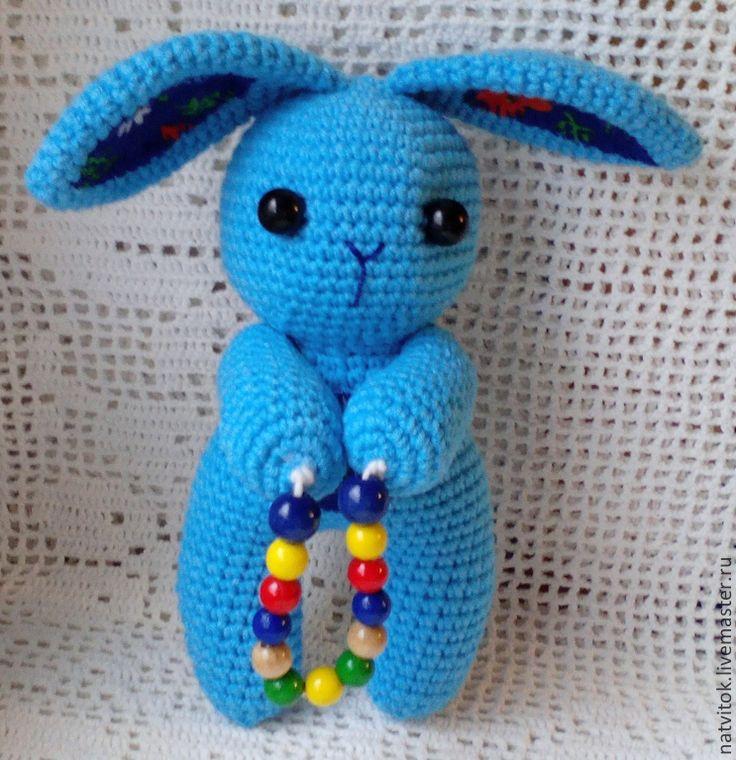Купить Заюшка со скакалкой,развивающая игрушка для малышей вязаный крючком - голубой, кролик игрушка amigurumi blue crochet bunny ..let's jump)