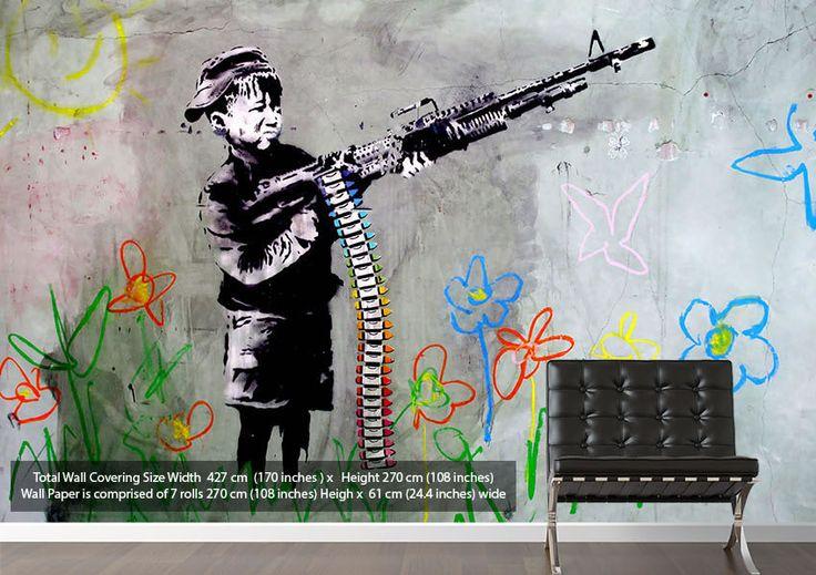 Crayon gun black and white banksy wallpaper murals several for Banksy mural wallpaper
