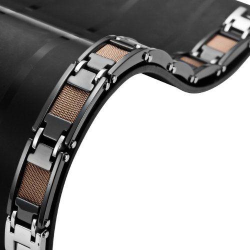 R&B Bijoux - Bracelet Homme Solide 13mm - Gourmette Liens 21cm Lourds - Carbure de Tungstène (Noir, Bronze). 45,90€ #gourmette #homme #carbure #tungstene #bronze #noir #cadeau #fetedesperes