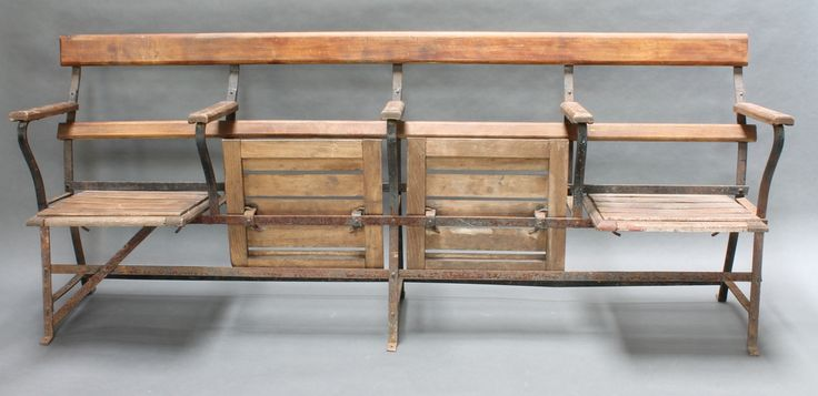 """Lot 1075, An iron and wooden 4 section folding bench shop fitting 32""""h x 77""""w x 14""""d est £340-440"""