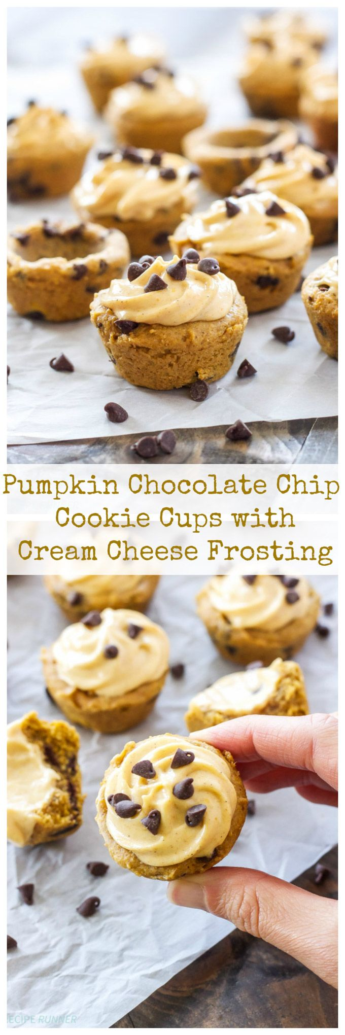 Mini pumpkin chocolate chip cookie cups are filled with a delicious pumpkin cream cheese frosting! They are the perfect little treat to make this fall!