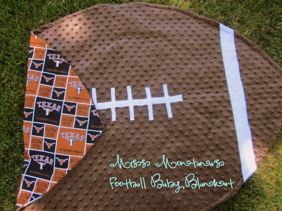 football baby blanket - I made this last year for my nephew I thought I was brilliant for making my own pattern...this one is simple..