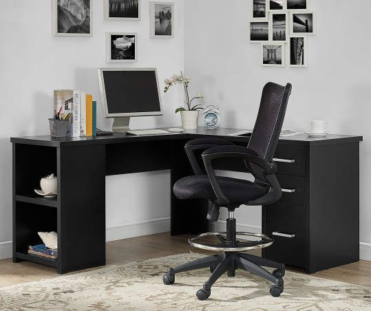Ameriwood Abney Black Oak L Shaped Corner Desk Big Lots In 2020 Home Cheap Office Furniture Home Office