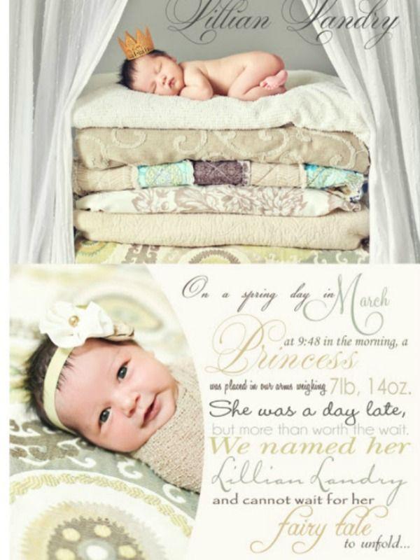 Newborn Baby Announcement Ideas ideas for creating birth