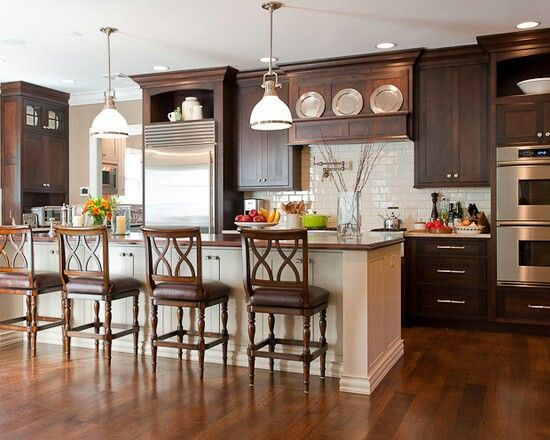 Subway Tile In Kitchen With Dark Cabinets