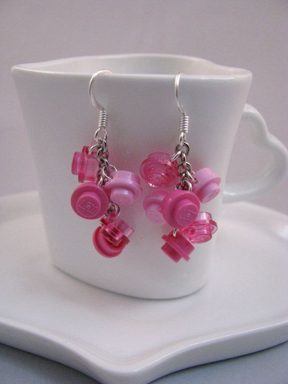 Pretty in Pink Brick Cascade Earrings by cutebricks on Etsy