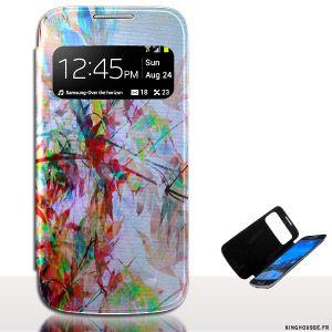 Housse s4 mini Flip S'View Automne - Etui en cuir personnalisé. #Housse #cuir #etui #telephone #Samsung #s4 #Mini #i9195 #Fleurs #fun #originale