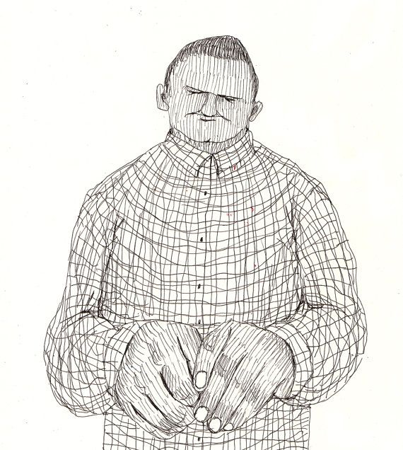 I'm a little embarrassed/ original drawing / pen drawing by Tosya, $55.00