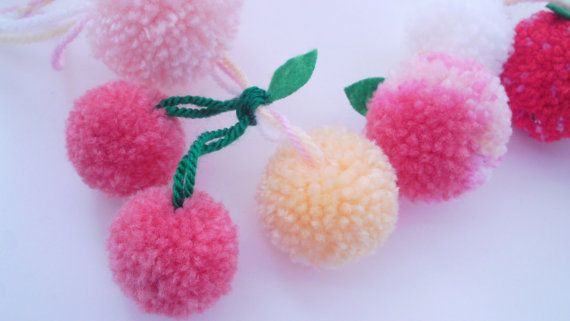 Yarn Pom Pom Garland wreath buntingPeaches and cream by FrillyPops, £26.00