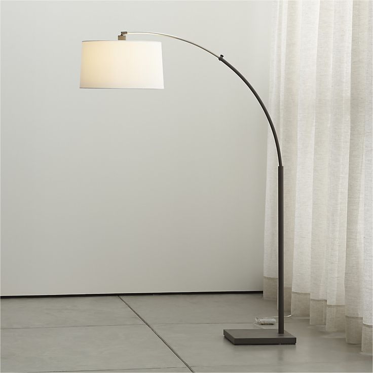 Dexter arc floor lamp with white shade arc floor lamps shades and floor lamps - Arc floor lamp shade ...
