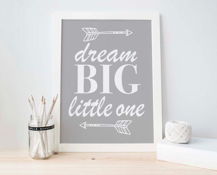 Nursery Wall Art, Grey Nursery, Grey White Decor, Purple Decor, Boys Nursery, Baby Boy Decor, Arrow Print, Dream Big Little One, Baby shower by PartyInked on Etsy https://www.etsy.com/listing/247425787/nursery-wall-art-grey-nursery-grey-white