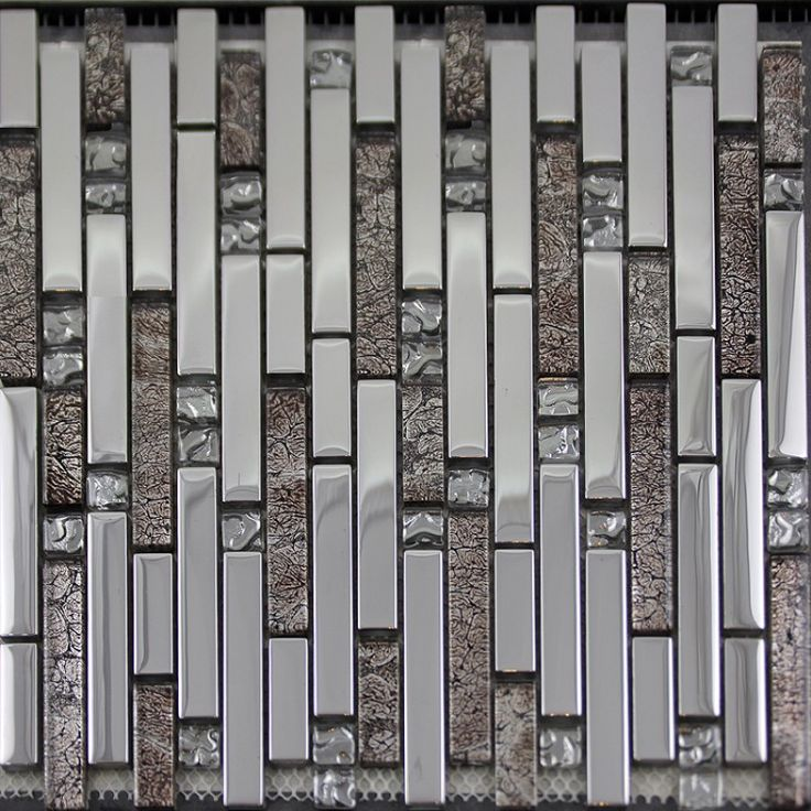 Glass Mosaic Tiles Crystal Interlocking Tile Bathroom Wall Strip Stickers Kitchen Backsplash Silver Plated Glass Sb01