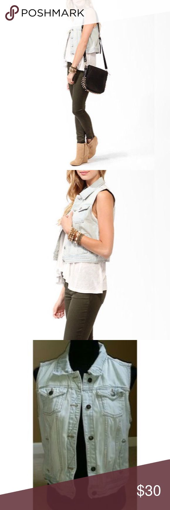 ✨HP✨F21 Light Wash Sleeveless Jean Jacket✨ ✨Best in Outerwear HP 1-27-18✨Slightly distressed light wash demin jean jacket. Sleeveless with 2 front pockets and buttons down the front. Features floral trim detail inside around sleeves and pockets. No stains or snags or signs of wear.✨ Forever 21 Jackets & Coats Jean Jackets