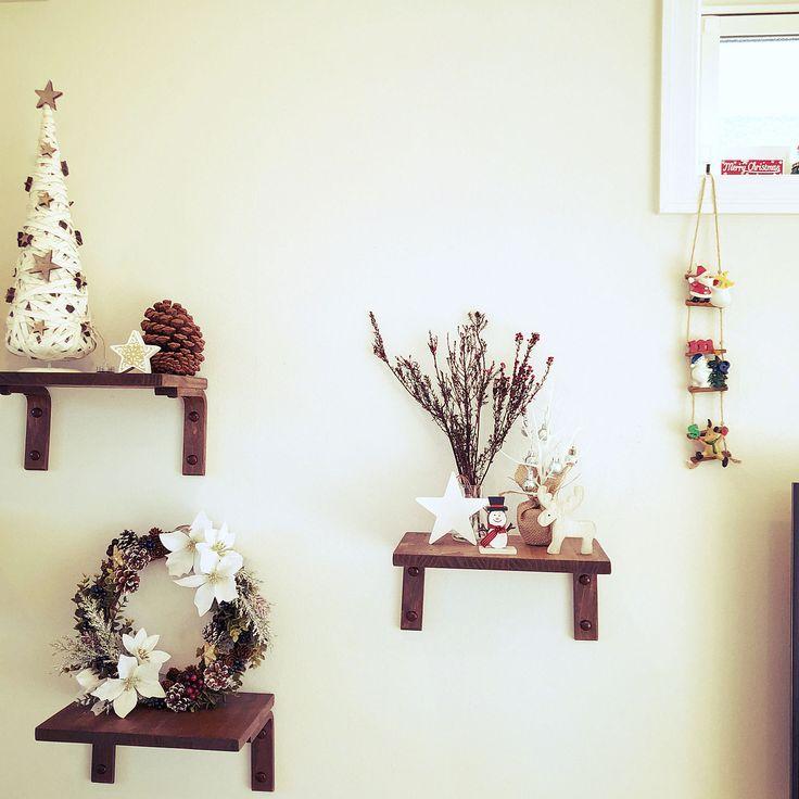 My Shelf/ダイソー/ハンドメイド/ドライフラワー/セリア/クリスマスリース...などのインテリア実例 - 2017-11-26 02:04:53 RoomClip (ルームクリップ)
