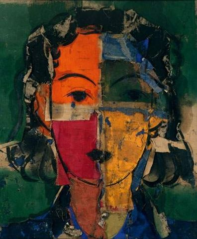 Manolo Valdés - Matisse como pretexto VII, 2000-. Oil, fabric, collage and assembling of gunny on canvas.