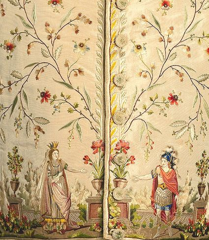 detail embroidered front of waistcoat, France, 1785-1795, embroidery in knot, stem, & satin stitches using 25 colors of silk; satin stitch in metal-wrapped silk; couched silk cord; appliqué of 3 plain weave silk fabrics. foundation: silk plain weave. Depicts Dido & Aeneas in a scene from Didon. The opera had its public premiere in Paris in December 1783 and was an instant success, enjoying more than 200 performances. | Smithsonian Cooper-Hewitt, National Design Museum in New York.