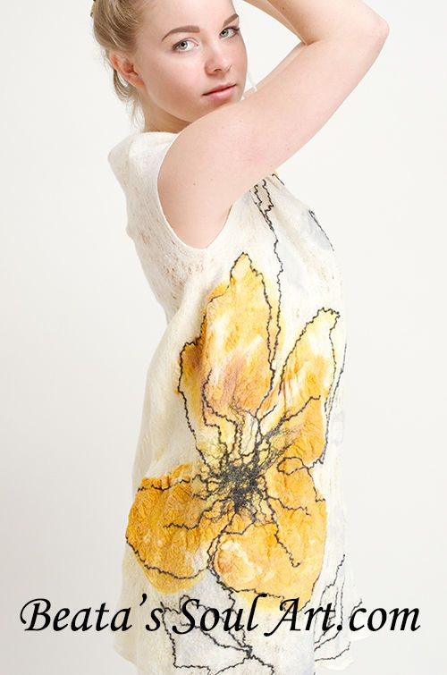 Summer yellow flowers dress, unique hand made dress, wool lace dress, flowers dr