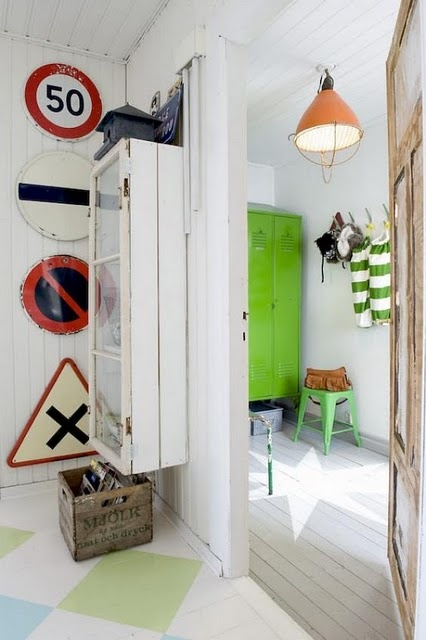 Vintage Road Signs AND lime green lockers