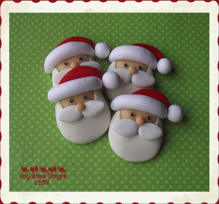 These Santa's were done in polymer clay but they would work with fondant too.