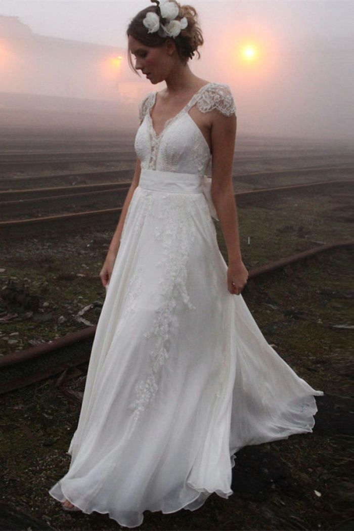 2018 V-neck Summer Outdoor Wedding Dress Lace Cap Sleeve Open Back Bridal  Gowns  outdoorwedding 5c3215c72ae