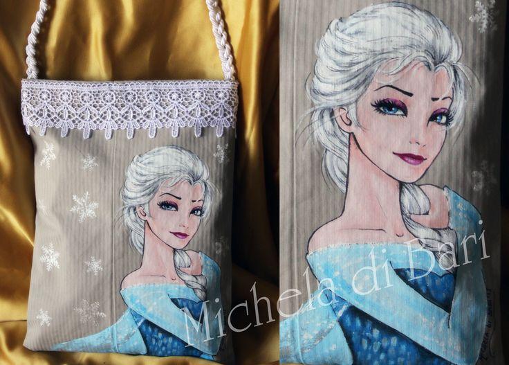 Borsa Elsa♥ Totalmente realizzata a mano e dipinta a mano € 40 + SP Info 3203087887