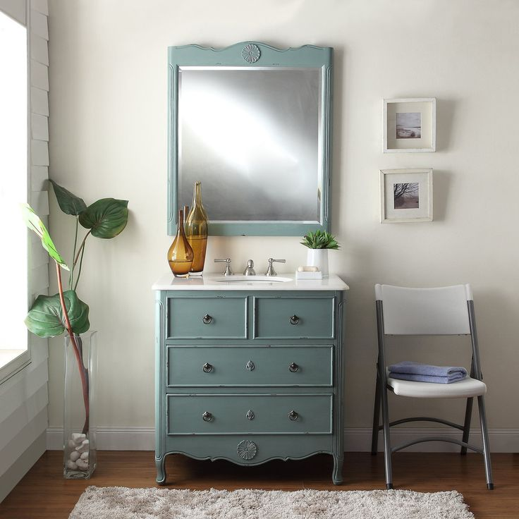 Adelina 34 inch Vintage Bathroom Vanity Vintage Mint Blue Finish, White  marble counter top, - Best 25+ Vintage Bathroom Vanities Ideas On Pinterest Singer