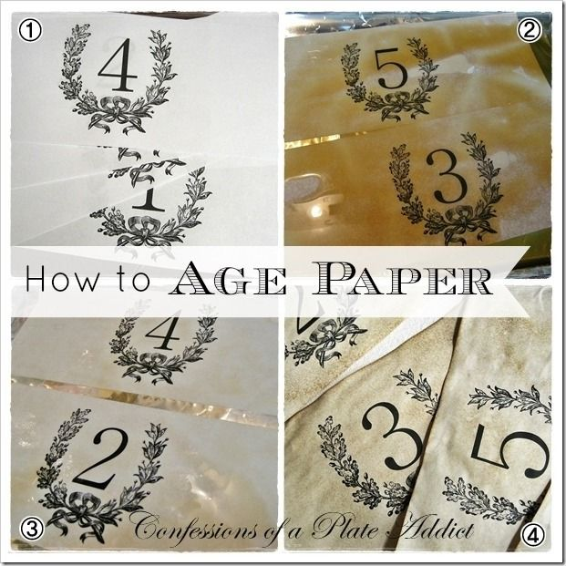 DIY How to Age Paper... using coffee ~ And FREE Printables ~ From: CONFESSIONS OF A PLATE ADDICT
