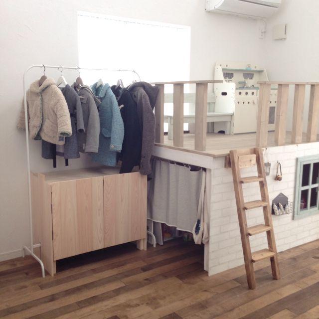 puchicchiさんの、リビング,DIY,キッズコーナー DIY ,IKEAハンガー,IKEAハンガーラック,ランドセル収納ロッカー,のお部屋写真