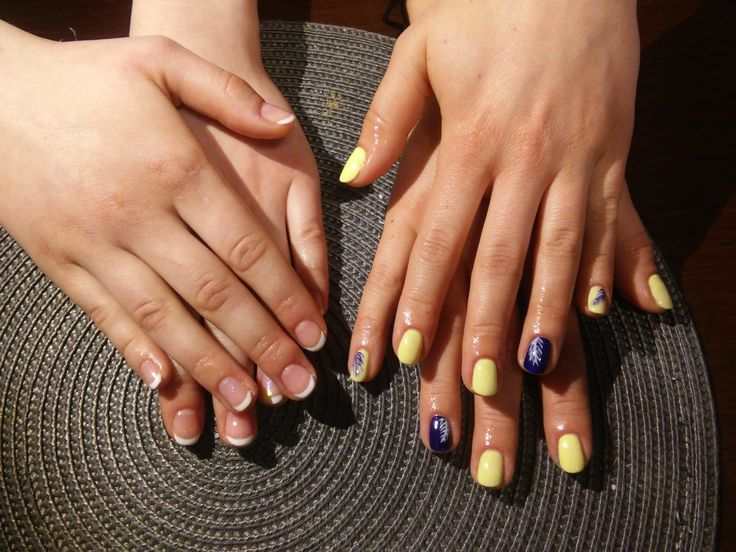 Nails. French nails. Yellow and blue
