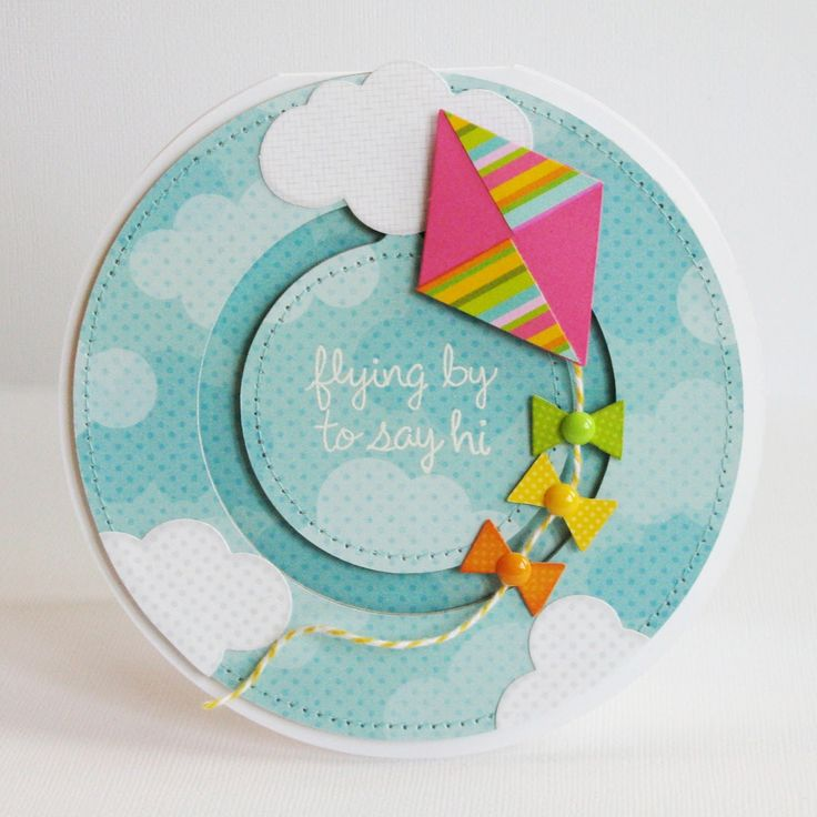 Lori Whitlock Penny Slider Circle Card by Mendi Yoshikawa (using Doodlebug's Springtime collection).
