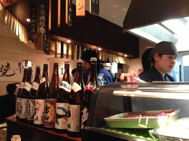Kushi-Tei of Tokio in Düsseldorf. Außer mir höchstens 3 Deutsche, aber mindestens 50 Japaner hier. Sehr beruhigend!