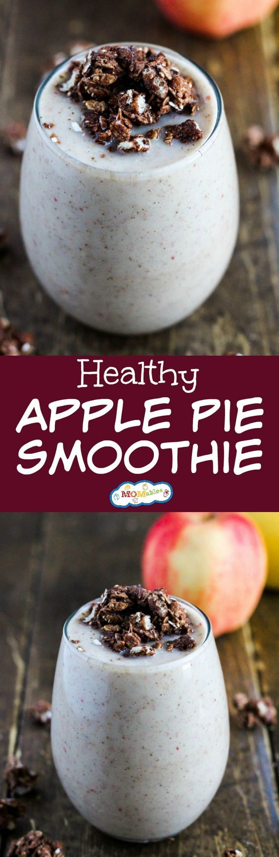 Enjoy the warm flavors of a classic fall dessert in a healthy Apple Pie Smoothie! It's packed with fruit and protein to make the perfect breakfast or snack.