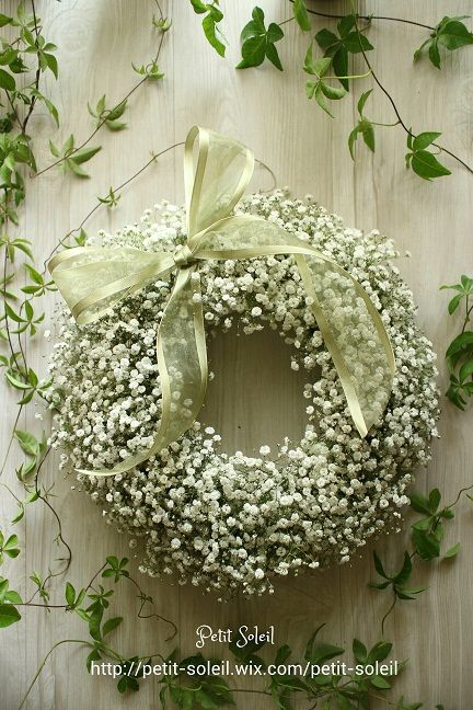 かすみ草リース Baby's breath wreath