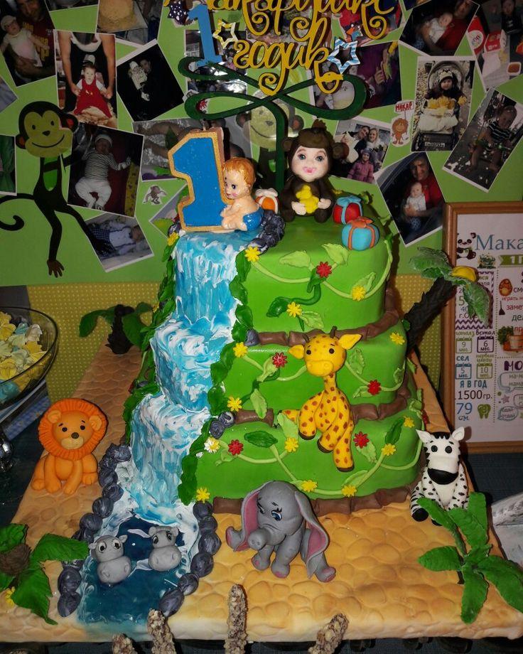 """Торт """"Джунгли"""",торт мальчику на годик,торт с дикими животными"""