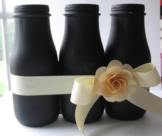Chalkboard Altered Glass Bottle Triple Vase - used to be Starbucks Frappuccino bottles!