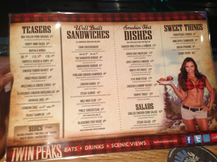 I Was At Twin Peaks Restaurant In Buckhead The Menu