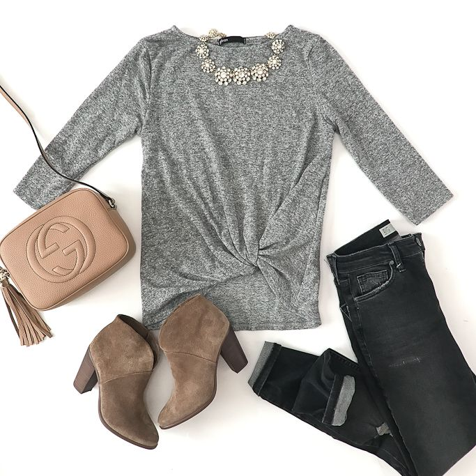 Twist front cozy fleece pullover, Gucci soho disco leather bag, Jamie Shredded High Rise Skinny Jeans, Vince Camuto Franell western booties