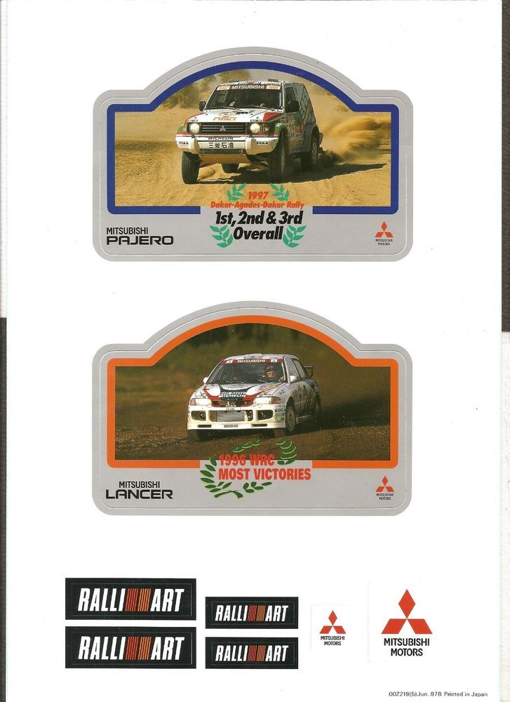 1997 Mitsubishi Ralliart Rally Wrc Paris Dakar Original