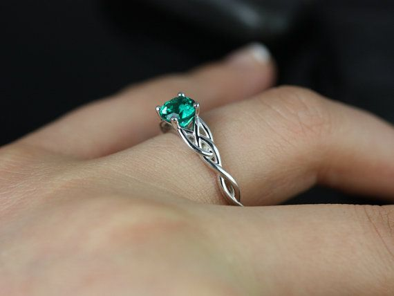 Cassidy 14kt White Gold Round Emerald Celtic Knot Engagement Ring (Other Metals and Stone Options Available) on Etsy, $1,048.25 AUD