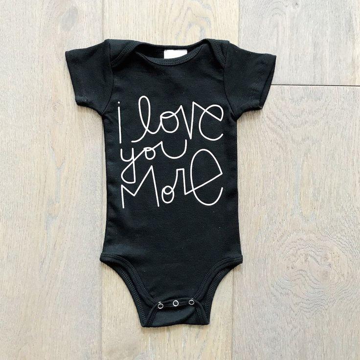 I love you more organic onesie black newborn baby clothesnewborn