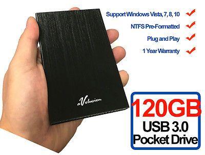﹩26.99. Avolusion HD250U3 120GB USB 3.0 Portable External Hard Drive (Black) Ultra Slim    Type - Portable External HDD, Storage Capacity - 120GB,