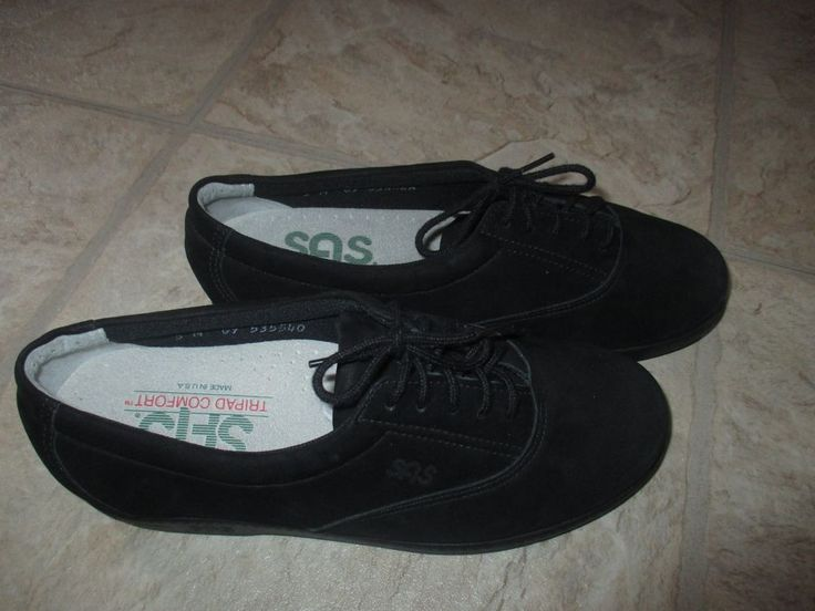Womens SAS Suede Black Leather Tripad Comfort Shoes 5 M New Without Box #SAS #flats