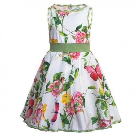 VESTITO BAMBINA MONNALISA Vestito per bambina di Monnalisa svasato in popeline di cotone con taglio sciancrato con fantasia floreale, scollo rotondo, senza maniche e arricciato in vita con un ampia fascia elastica. Vestito Monnalisa fresco e primaverile, un abito davvero delizioso. #monnalisa #vestiti #abiti #abbigliamento #moda #fashion #shopping #bimba #bambina #ragazza #kids #junior #teen #girl #comunione #cresima #elegante