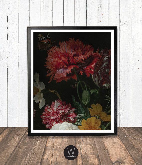 Moody red floral vintage wall art print by WestEndGirlstudio