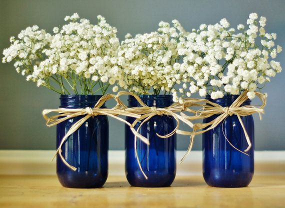My mason jar obsession ~ Set of Three Cobalt Blue Mason Jar Vases, Hand Painted Glass Tint