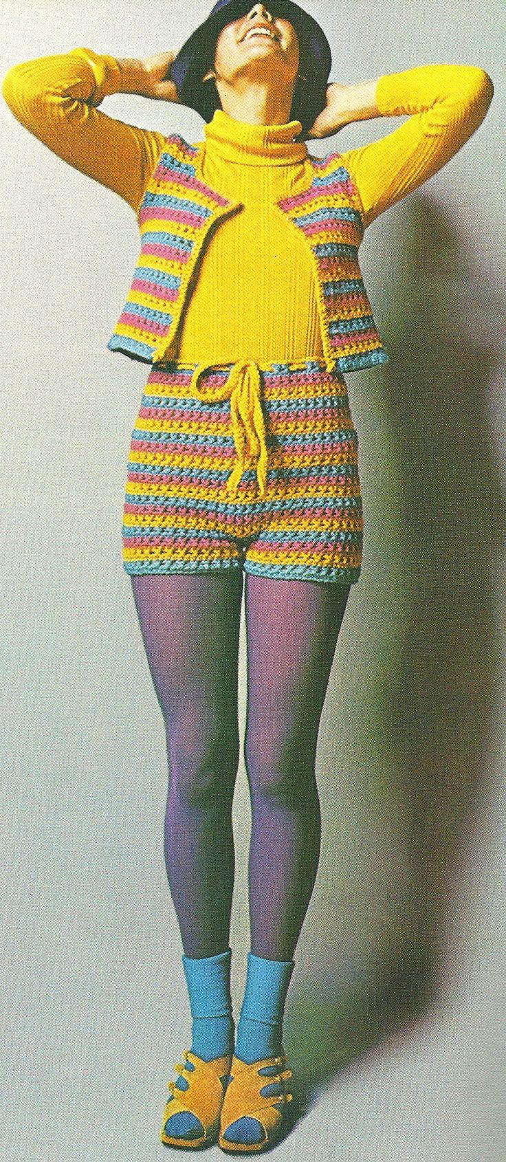 1972~crochet hot pants+vest (remember the wild coloured ...