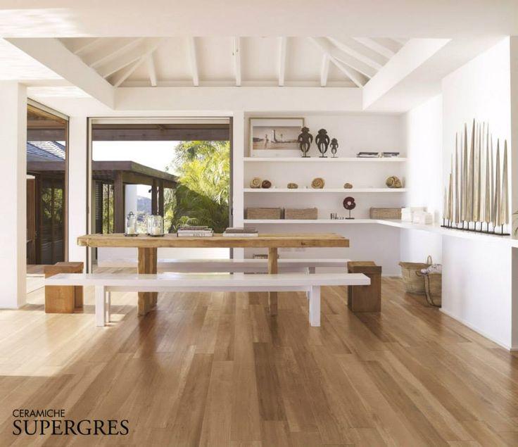 Open ruimte met keramisch parket uit de collectie van Supergres.