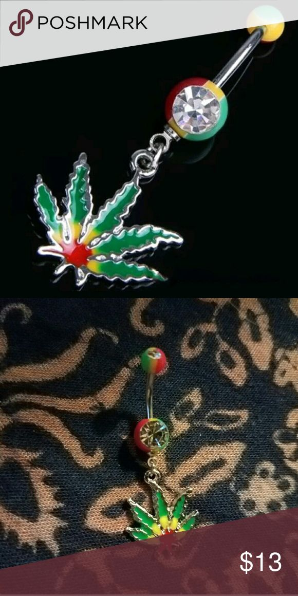New In! Hot! Cannabis Leaf Belly Button Ring High quality & super sexy! ☄☄ Reggae Festival Theme Colorful Rainbow Cannabis Marijuana Pot Leaf Dangle Belly Button Ring NorCalCloset Jewelry