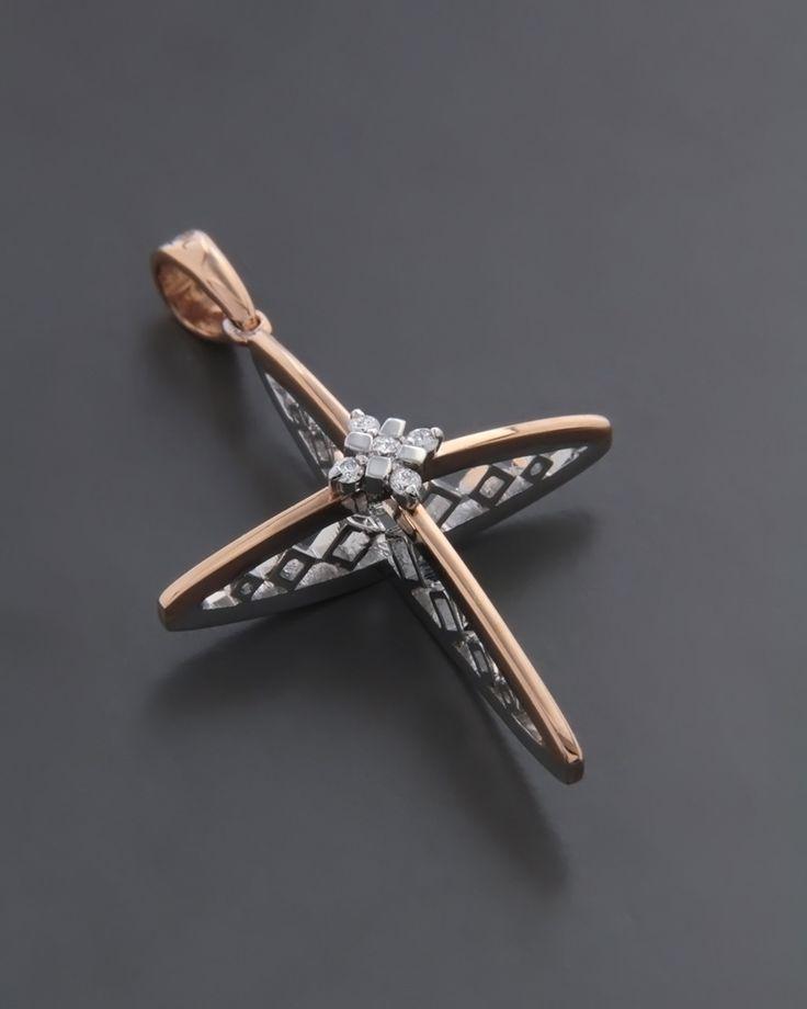 Σταυρός λευκόχρυσος & ροζ χρυσός Κ18 με Διαμάντια